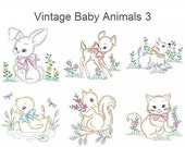 Vintage Baby Animals 3 Machine Embroidery Designs Instant Download 4x4 5x5 6x6 hoop 10 designs APE2290