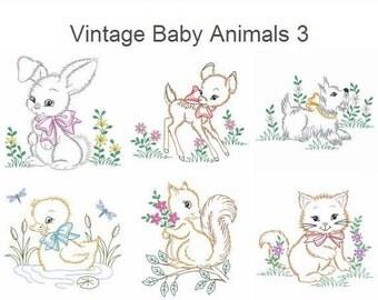 Vintage Baby Animals 3 Machine Embroidery Designs Instant Download 4x4 5x5 6x6 hoop 10 designs APE2290
