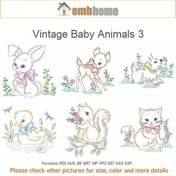 Vintage Baby Animals 3 Machine Embroidery Designs Instant