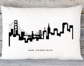 San Francisco Skyline Pillow Cover - San Francisco Skyline Throw Pillow Cover - Modern Black and White Lumbar Pillow - By Aldari Home