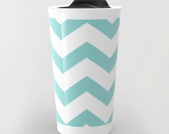 Blue Chevron Travel Mug - Ceramic Travel Mug With Lid - Gift For Women - Aldari Home