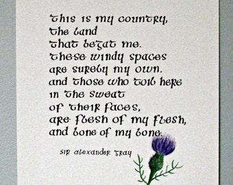 Scottish Poem Quote Calligraphy Scottish thistle Alexander Gray original art