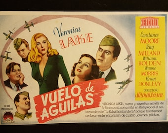 Original 1945 I Wanted Wings Spanish Herald Movie Poster, Veronica Lake, Ray Milland, Constance Moore, WW2, War, Army