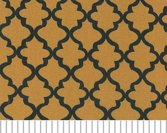 Gold and Black Mini Quatrefoil Fabric, Fabric Finders,100 percent cotton, Black and Gold Quatrefoil