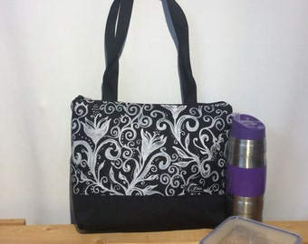 Lunch bag insulated and waterproof,  flowers pattern