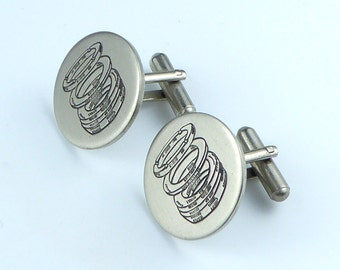 Cufflinks - white metal with piston ring design