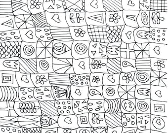 Art Therapy Coloring Page Sheet Pdf File Download Squares