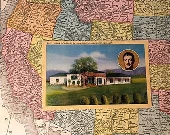 Vintage Linen Postcard of Robert Taylor's Northridge Home