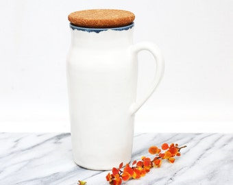 tall ceramic travel mug with handle ~ large (20oz) to-go mug with cork lid ~ white glaze with slate blue accent ~ wheel thrown clay