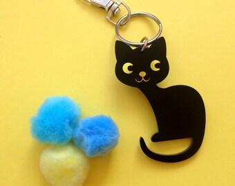 Cat / Feline / Kitty Keyring or Bag Charm - Laser Cut Acrylic Keychain