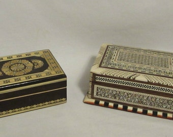 Wood Boxes, Set of Two, Inlay, Russia, Morocco