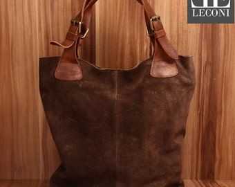 LECONI-LAN bag of shopper bag leather bag lady bag soft suede leather dark brown LE0033-VL