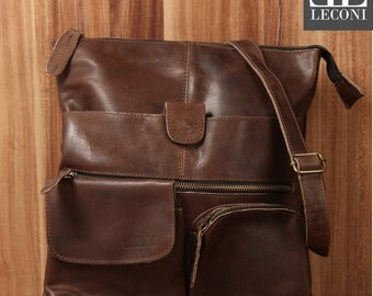 LECONI shoulder bag shoulder bag ladies gentlemen Used look leather dark brown LE3011-wax