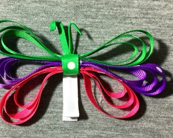 Multicolored Butterfly Sculptured Bow Clip. Pink/Purple/Green/Butterfly