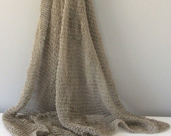Linen, hand knitted. Large scarf/shawl.