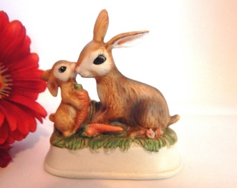 Mother and Baby Bunny Rabbit Porcelain Figurine Vintage Brown Rabbits  Spring Easter Home Decor Mother's Day Gift