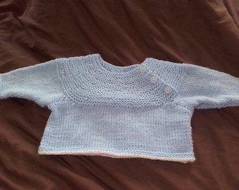 Light blue handknitted sweater for 0 to 3  months old baby boy