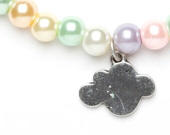 Beaded Cloud Bracelet | Pastel Cloud Bracelet | Cloud Charm Bracelet | Weather Bracelet |
