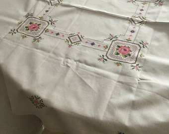 Beautiful French hand embroidered table cloth 81 x 81cm approx