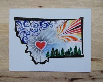 Montana Heart Postcard-4 Pack