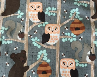 Forest Animals 100% cotton quilting weight fabric by the half yard