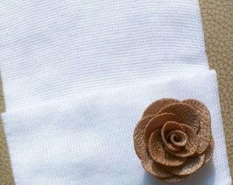 Newborn Hospital Hat w/ Handmade Gold Flower. White Newborn Hats. Baby's 1st Keepsake. Great Gift. Newborn Outfit. Gender Reveal