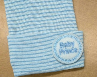 A Best Seller! Newborn Hospital Hat. Baby Boy BABY PRINCE. Newborn Beanie. Every New Baby Boy Should Have! Adorable!