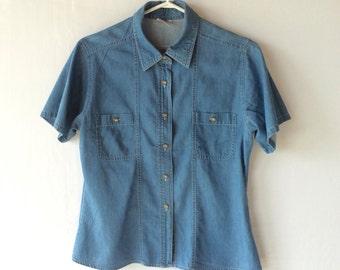 Women's denim blouse. Size 40/10. Short sleeve blouse. Women's top. Women's clothing. Soft denim. 100% cotton.