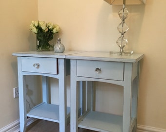 Duck egg blue hand painted cherrywood  bedside cabinets