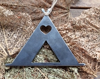 Tent Camping Christmas Ornament Love to Camp Rustic Metal Heart Christmas Tree Ornament Holiday Gift Wedding Favor By BE Creations