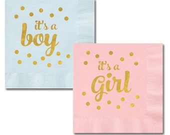 Metallic Gold It's A Boy/Girl Napkins (set of 25)