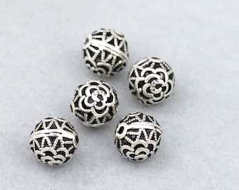 Round 925 silver bead thai rose flower sterling silver spacer ball beads 10mm antique silver hollow beads diy wholesale Y150