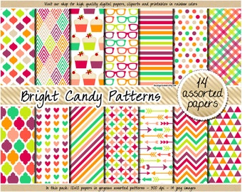 SALE cupcake digital paper rainbow digital paper candy clipart cupcake planner sticker party printable favors pink purple green orange blue