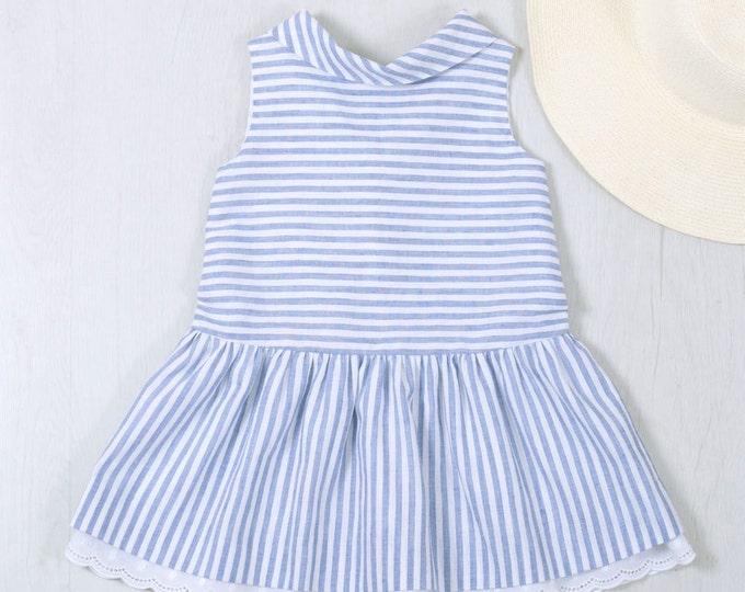 Girls linen dress, Girls clothes, Sleeveless dress, Girls linen clothing, Toddlers dress, A line dress blue with white stripes, Summer dress