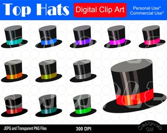 Top hat clipart | Etsy