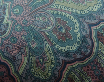 paisley teal fabric vintage upholstery chintz polished cotton