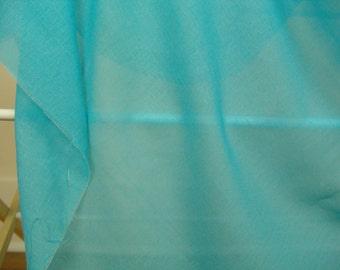 SALE  Voile Turquoise cotton voile fabric vintage Semi-sheer aqua curtain evening wear
