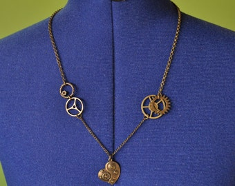 Bronze Metal Gears and Heart Necklace