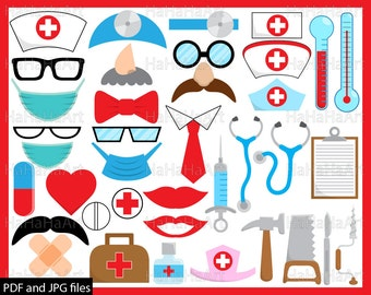 Doctor Props - ClipArt PDF JPG Digital Graphic Design Commercial Use Prop Photo Booth Instant Download Clip art medic Funny Party (00171)