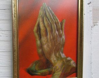 vintage holographic praying hands, christian holographic, cheesy jesus, kitschy jesus, kitschy christian, retro praying hands, orange