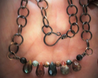 Boho Chic Jewelry-Rustic Jasper Beads Necklace-Urban Chic Necklace-Rustic Copper Chain-Faceted Briolette Necklace-Handmade Jewelry