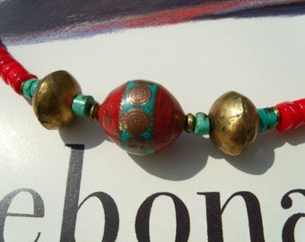 Turquoise coral of inlay beads brass chain