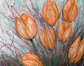 Orange Flower Art Print, Orange Floral Wall Art, Flower Print, Wall Art, Wall Decor, Tulip Art, Tulip Painting, Flower Print, Canvas Art