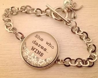 Inspirational bracelet, She who dares...WINS personalized bracelet, inspirational jewelry, inspirational gift, personalized bracelet