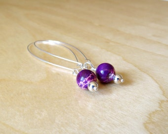 Silver, Earrings, Purple, Jasper, Hoop, Chandelier, Dangle