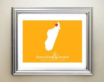Madagascar Custom Horizontal Heart Map Art - Personalized names, wedding gift, engagement, anniversary date