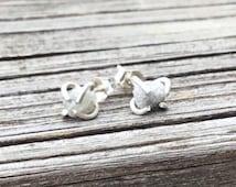 Raw Diamond Stud Earrings. Claw Set Tiny Silver/White Uncut Diamond Post Earrings in Argentium Silver