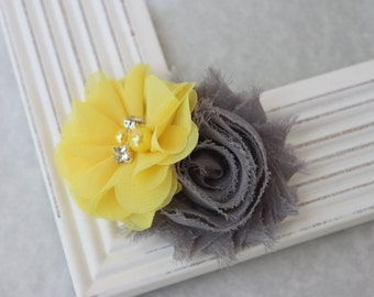 Yellow and grey girls hair clip, yellow hair bows, girls yellow hair bow, grey and yellow flower girl hair clips, yellow and grey accessory