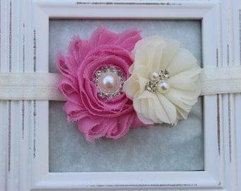 Pink and ivory headband, pink elastic headband, girls ivory and pink flower headband, pink newborn headband, Infant headband baby headband