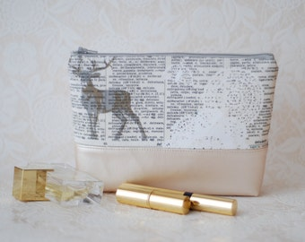 Cosmetic cotton and faux leather zipper pouch
